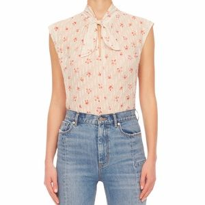 Rebecca Taylor Maui FLeur Dot Tie Neck Silk Top